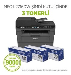BROTHER - Brother MFC-L2716DW Fot/Tar/Faks/WiFi Laser Yazıcı (3 Tonerli)