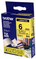 BROTHER - Brother TZ-611 Sarı-Siyah Lamine Etiket 6mm