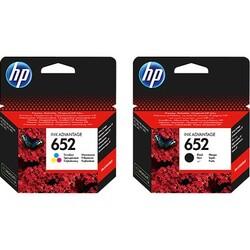 HP - HP 652 Siyah + Renkli Orjinal İkili Kartuş F6V24AE-F6V25AE