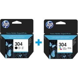HP - HP N9K05AE+N9K06AE Orjinal Siyah+Renkli+Siyah Kartuş 304